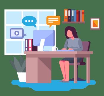 Teacher Working on Digital Classroom
